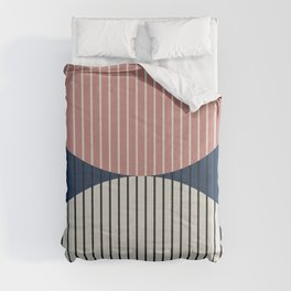 Abstraction Shapes 18 in Navy Blue Dusty Pink (Moon Phase Abstract) Comforters