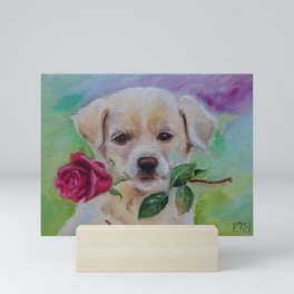 BABE I LOVE YOU Cute Labrador dog puppy with pink rose flower Pet portrait Mini Art Print