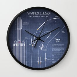 SpaceX Falcon Heavy Spacecraft NASA Rocket Blueprint in High Resolution (dark blue) Wall Clock