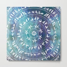 Kama Sutra Mandala Dark Blue Metal Print