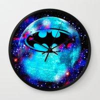 bat Wall Clocks featuring Bat by Saundra Myles