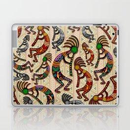 Kokopelli Rainbow Colors on Tribal Pattern  Laptop & iPad Skin
