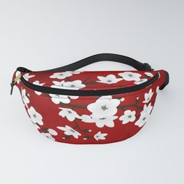 Red Black And White Cherry Blossoms Fanny Pack