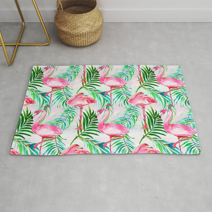 Pink Forest Green Tropical Flamingo Watercolor Fl Rug