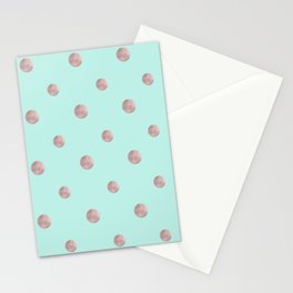 Happy Polka Dots Rose Gold on Mint #1 #decor #art #society6 Stationery Cards