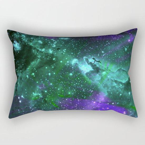 Aqua N Amethyst Space Flower Rectangular Pillow