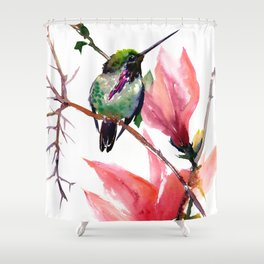 Hummingbird and Magnolia Shower Curtain