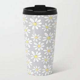 simple daisies on gray Metal Travel Mug