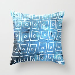 Blue Squares Abstract Throw Pillow