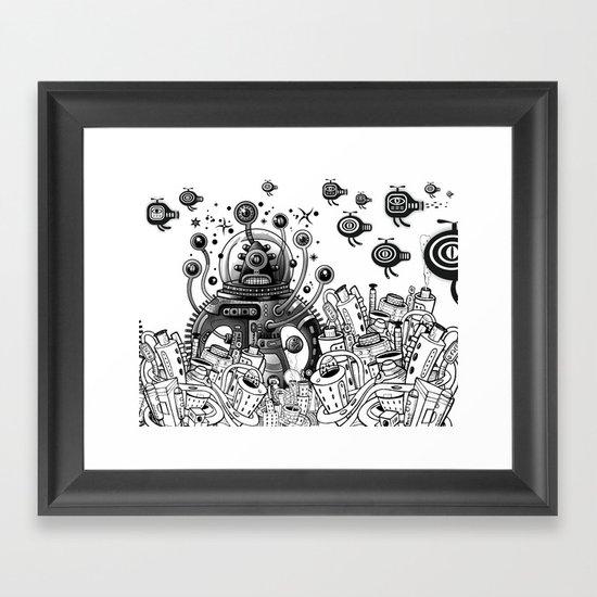Alien in mecanic jungle Framed Art Print