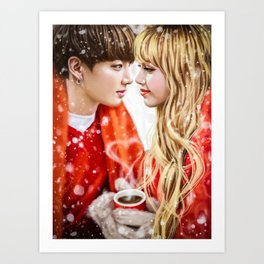 Winter couple Art Print