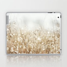 Dewdrop Nature Photography, Neutral Dew Drop, Gold White Brown Beige, Cream Water Drops Laptop & iPad Skin