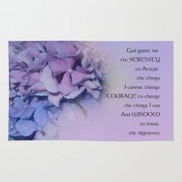 Serenity Prayer Hydrangeas Harmony Lavender Rug