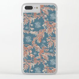 Water Swingers in Deep Wave ( leafy sea dragon pattern in teal and coral ) Clear iPhone Case