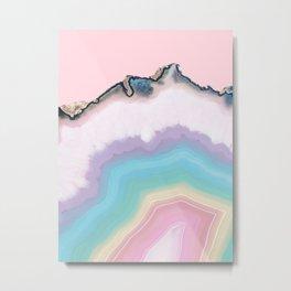 Rainbow Agate Slice Metal Print