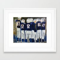 patriots Framed Art Prints featuring Patriots Huddle  by Pink Petals Paintings