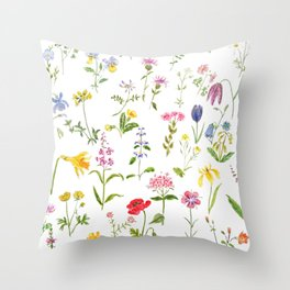 botanical colorful countryside wildflowers watercolor painting Throw Pillow