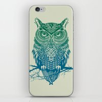 lines iPhone & iPod Skins featuring Warrior Owl by Rachel Caldwell