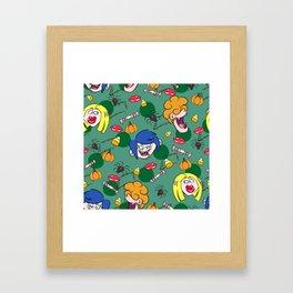 Kissing monsters pattern Framed Art Print