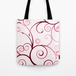 Cranberry Red Swirls and Circles Tote Bag