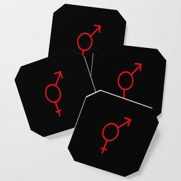 Symbol of Transgender I red and black Coaster