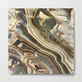 White Gold Agate Abstract Metal Print