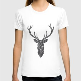 Grey Deer Head Illustration T-shirt