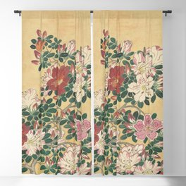 Vintage Flowers Azalea Japanese Painting Blackout Curtain