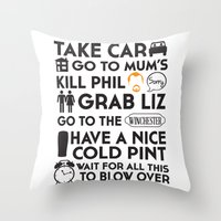shaun of the dead Throw Pillows featuring SHAUN OF THE DEAD THE PLAN by thischarmingfan