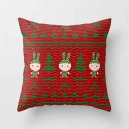 Knitted pattern Christmas Bunny Throw Pillow