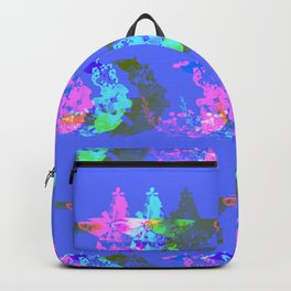Pressed flower star and moon celestial pattern blue Backpack