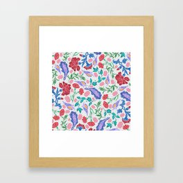 Asian-Inspired Floral Pattern For Wealth and Happiness Framed Art Print