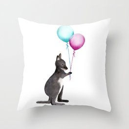 Wallaby With Balloons Throw Pillow