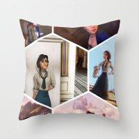 bioshock Throw Pillows featuring Elizabeth Bioshock  by Yizhen Dong