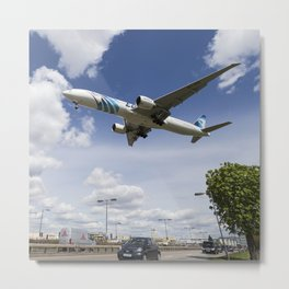 EgyptAir boeing 777  Landing at Heathrow Metal Print