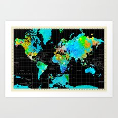 Black World Map 3 Art Print