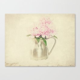 Antique Peony Bouquet in Stainless Pitcher Still Life Floral Canvas Print
