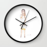 tote bag Wall Clocks featuring the One with the Yellow Tote Bag by Evelin T Designs
