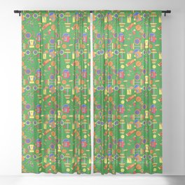 Retro & Fun Green Sports / Fitness, Colorful Rainbow Orange, Red, Yellow Bike Weights Jumpropes Sheer Curtain