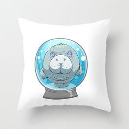 Cute Manatee in a Snow Globe Sea Cow Throw Pillow