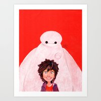 Big Hero 6 - Baymax & Hiro Art Print