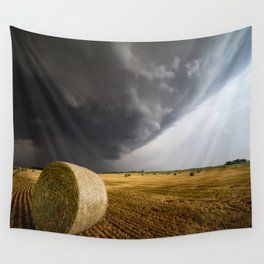 Spinning Gold - Storm Over Hay Bales in Kansas Field Wall Tapestry