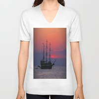 sailing V-neck T-shirts featuring sailing by Claudia Otte ArtOfPictures