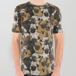 Social Pugs All Over Graphic Tee