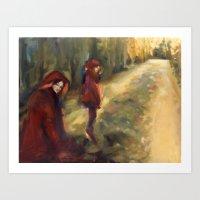 agnes cecile Art Prints featuring Agnes - Autumn by Dawn Dudek
