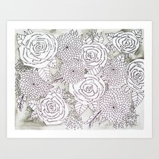 Floral Doodles in Gray Art Print