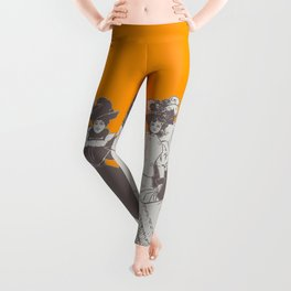Vintage Ladies APRICOT / Vintage illustration redrawn and repurposed Leggings