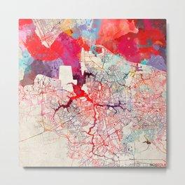 Norfolk map Virginia painting Metal Print