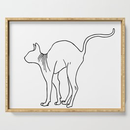Sphynx Cat Arching Its Back - Naked Cat -  Simple Line - Minimal Serving Tray