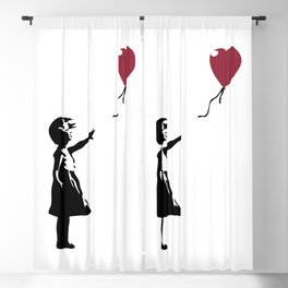 Girl With Red Balloon, Banksy, Streetart Street Art, Grafitti, Artwork, Design For Men, Women, Kids Blackout Curtain